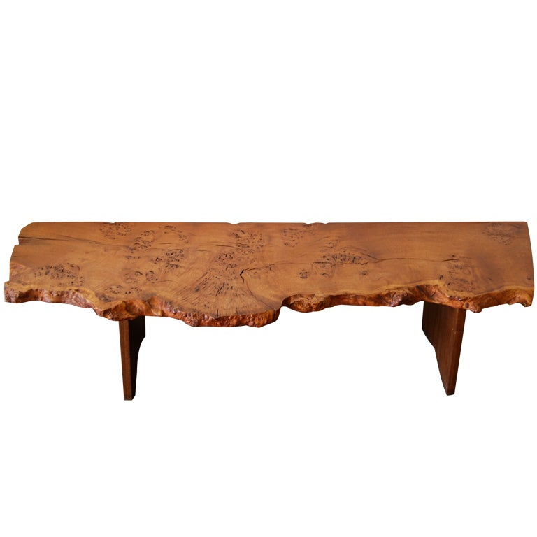 Vintage Burled Cypress Wood Live Edge Side Table At 1stdibs: George Nakashima Custom English Burl Free Edge Table At