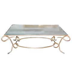 René Drouet Gilded Cocktail Table with Oxidized Mirror Top