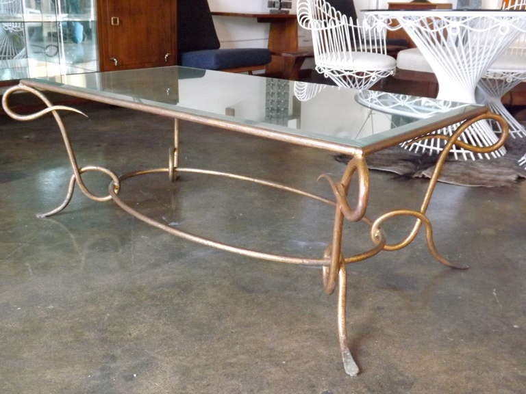 French René Drouet Gilded Cocktail Table with Oxidized Mirror Top For Sale