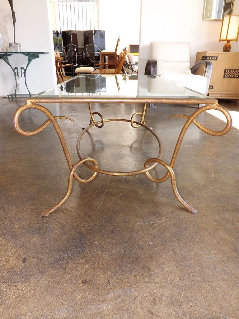 René Drouet Gilded Cocktail Table with Oxidized Mirror Top In Excellent Condition For Sale In Los Angeles, CA