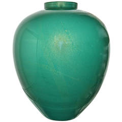 Archimede Seguso Large Bulbous Emerald Vase with Gold Inclusion