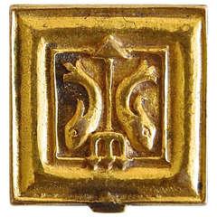 "Line Vautrin ""Pisces"" Pillbox in Gilt Brass"