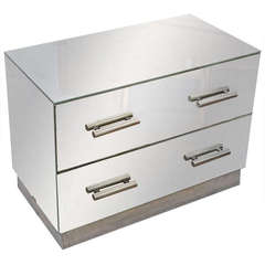 Jacques Adnet Mirrored Two-Drawer Console