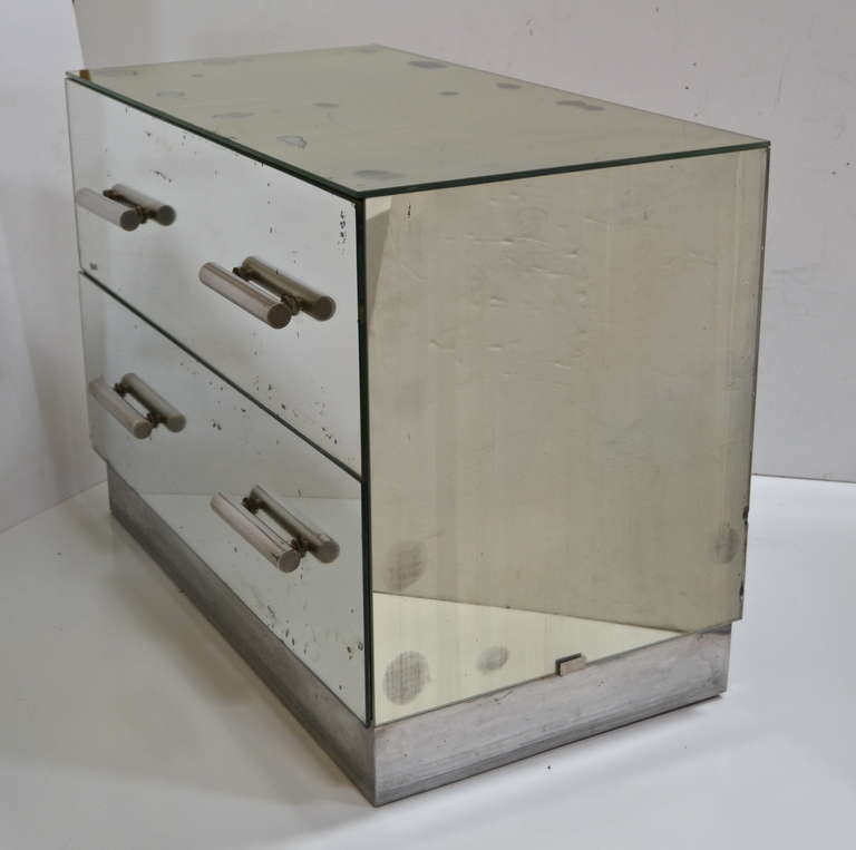 Art Deco Jacques Adnet Mirrored Two-Drawer Console For Sale