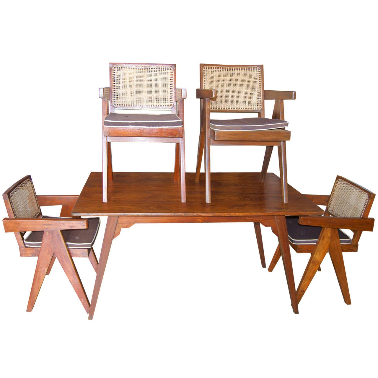Pierre jeanneret quot chandigarh dining set at stdibs