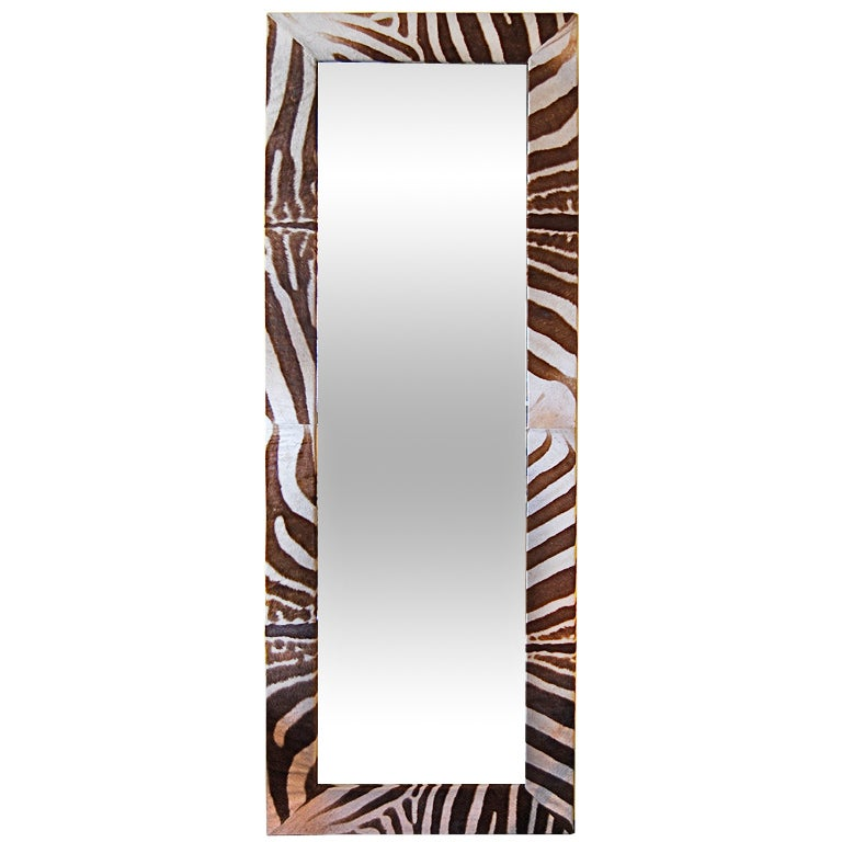 Massive 8 Foot Zebra Hyde Covered Mirror At 1stdibs