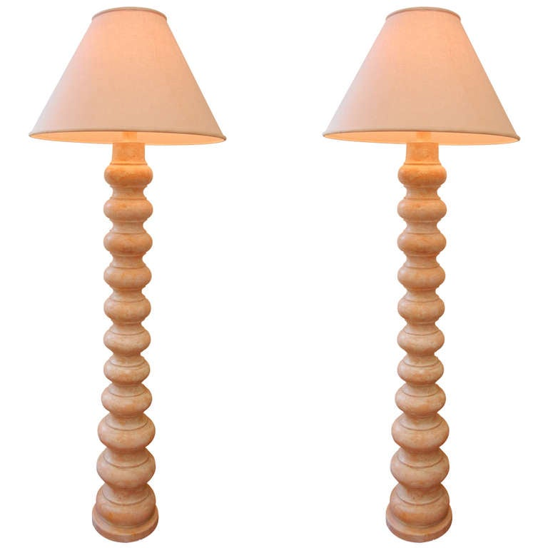 Frances Elkins Pair Of Craquelaire Floor Lamps For Sale At