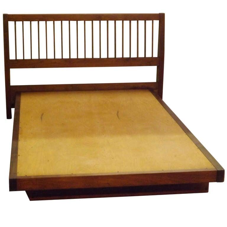 George Nakashima Queen Size Slat Back Bed
