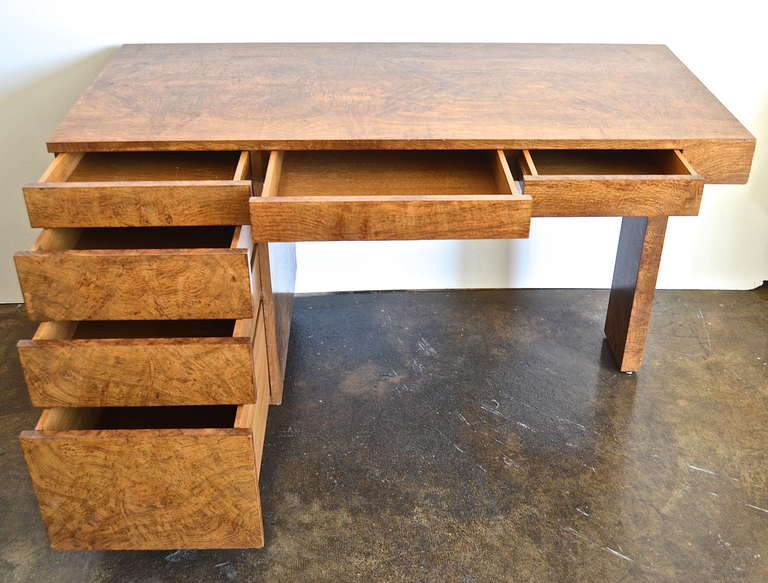 American Samuel Marx Burled Oak Desk For Sale