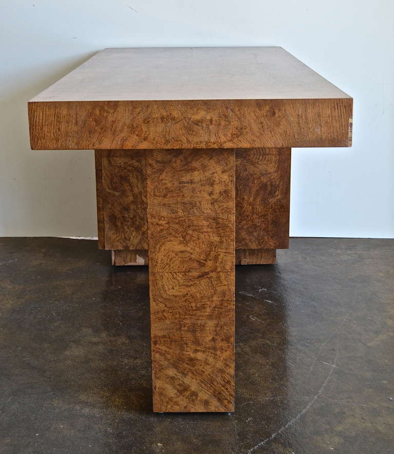 Art Deco Samuel Marx Burled Oak Desk For Sale
