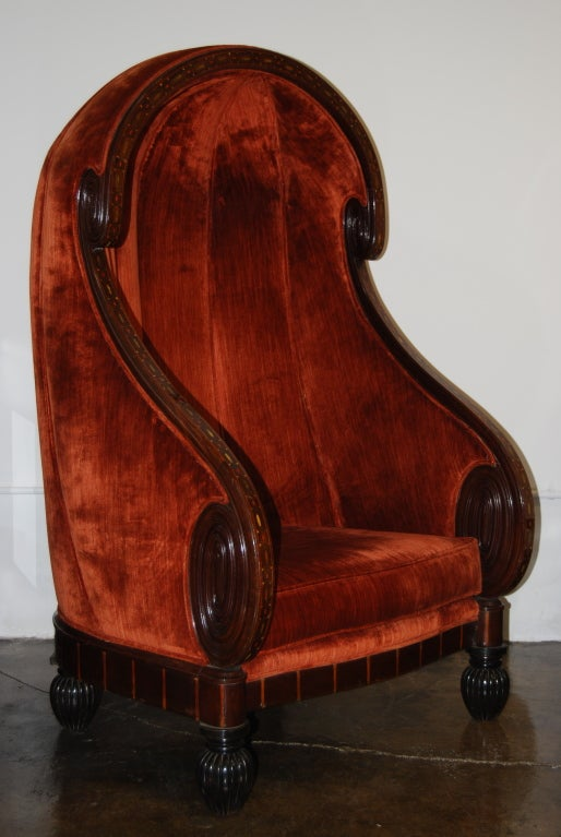Paul Iribe Porters Chair With Abalone Inlay At 1stdibs