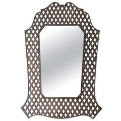 Massive French Lattice Wall Mirror