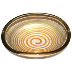 """Archimede Seguso """"Spirale"""" Centerpiece with Gold Inclusion"""
