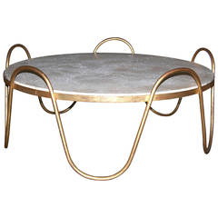"Jean Royère ""Ondulation"" Cocktail Table with Comblanchien Top"