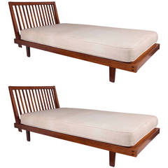 George Nakashima Pair of Slat-Back Daybeds
