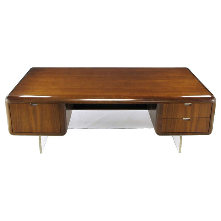 Vladimir kagan walnut and lucite executive desk at 1stdibs for Perspex desk