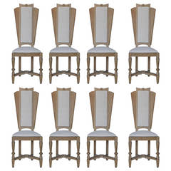 Suzanne Guiguichon Cerused Tall Back DIning Chairs, Set of Eight