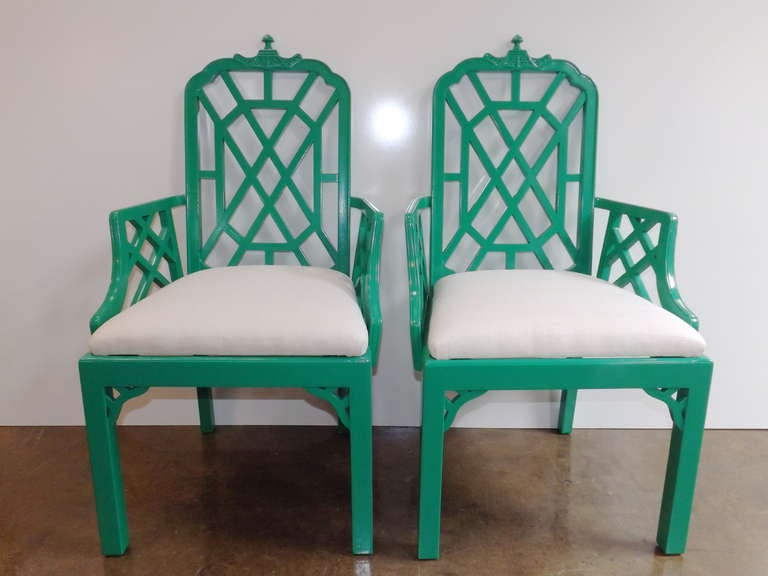 Chinese Chippendale Chairs in Kelly Green with Silk Cushions 2
