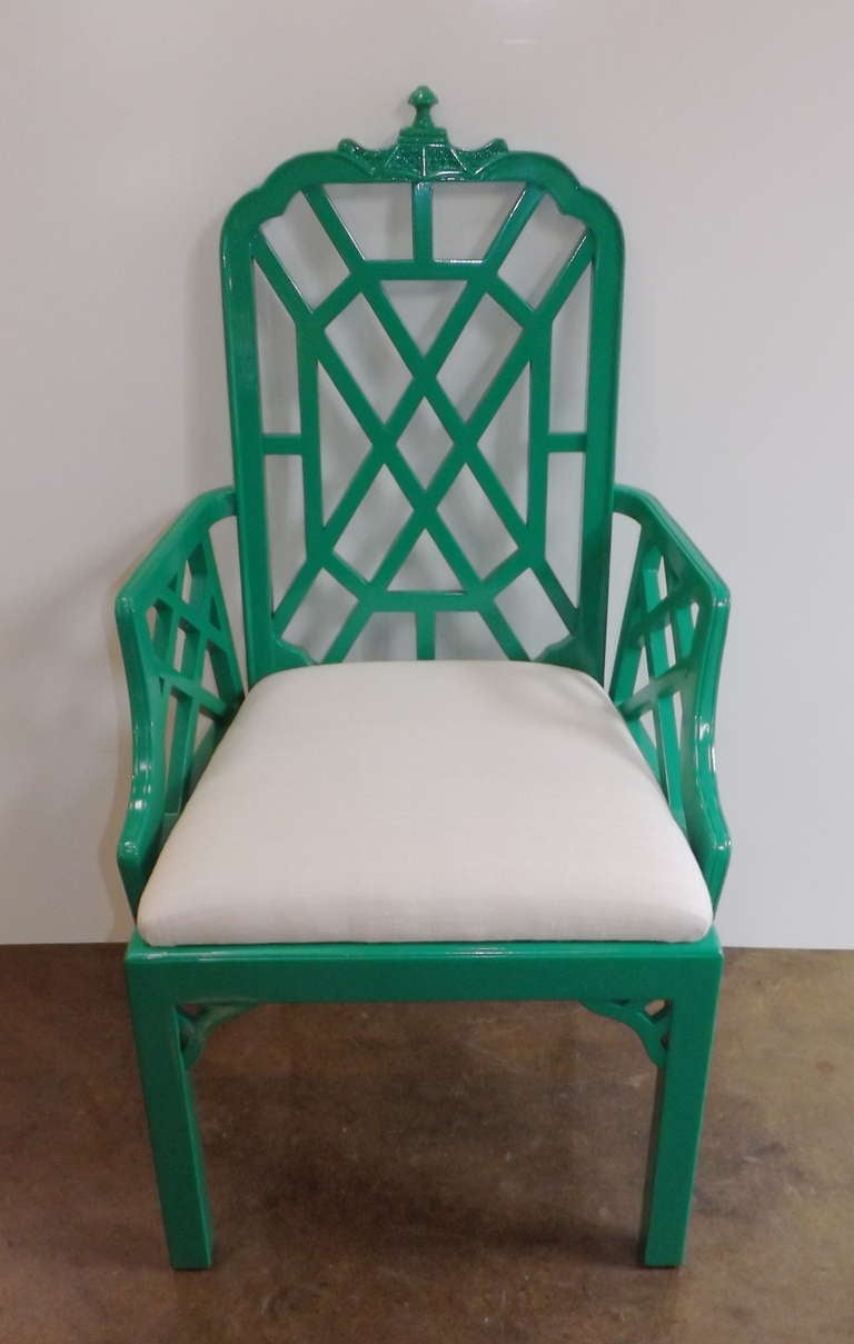Chinese Chippendale Chairs in Kelly Green with Silk Cushions 3