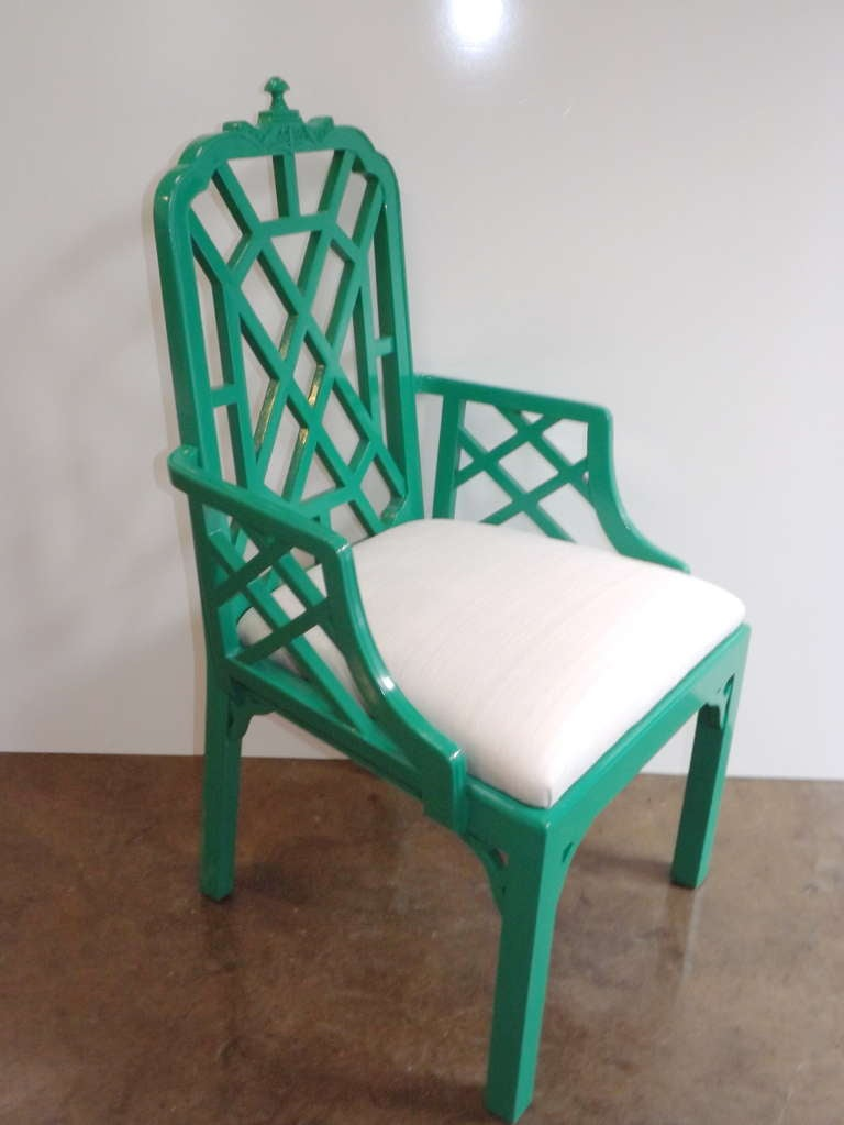 Chinese Chippendale Chairs in Kelly Green with Silk Cushions 5