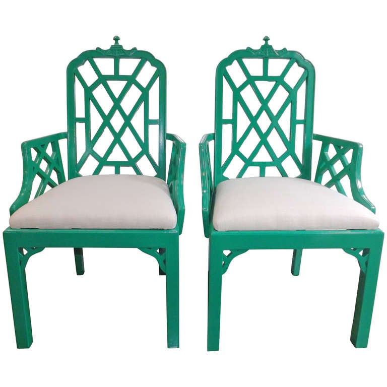 Chinese Chippendale Chairs in Kelly Green with Silk Cushions 1