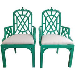 Chinese Chippendale Chairs in Kelly Green with Silk Cushions