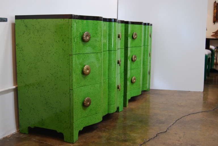Frances Elkins Serpentine Chests in Mottled Green Finish 5