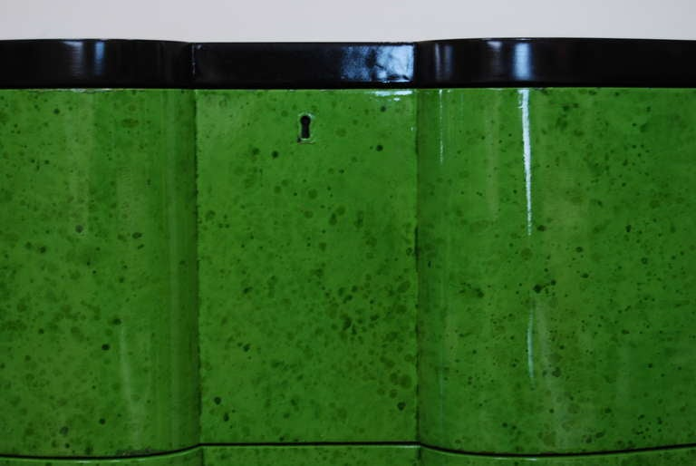 Frances Elkins Serpentine Chests in Mottled Green Finish 7