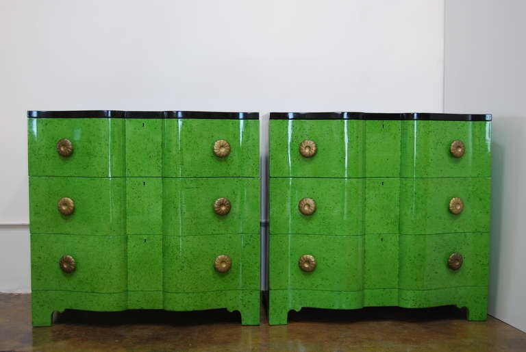 Frances Elkins Serpentine Chests in Mottled Green Finish 2