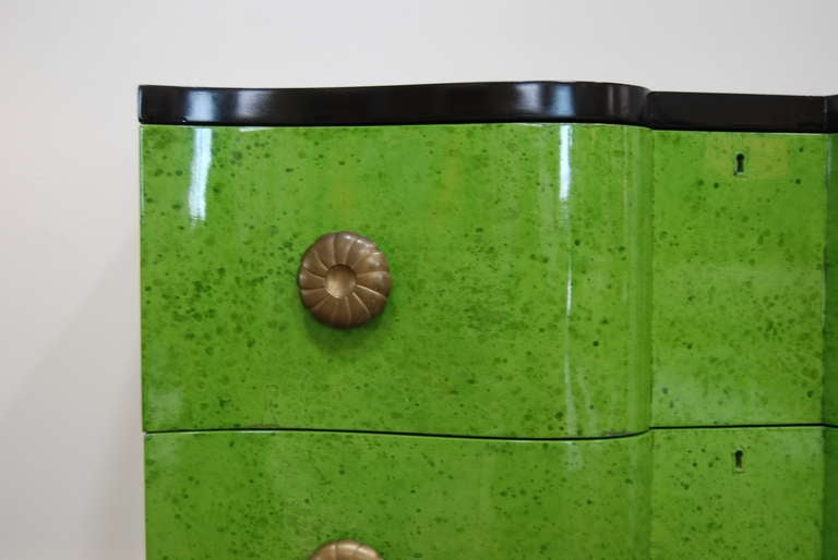 Frances Elkins Serpentine Chests in Mottled Green Finish 6