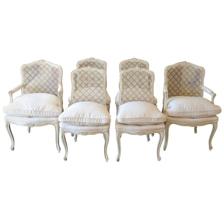 Maison Jansen Dining Chairs with Silk Seats, Set of Six
