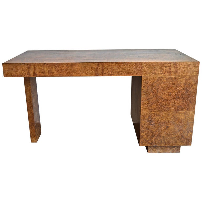 Samuel Marx Burled Oak Desk For Sale