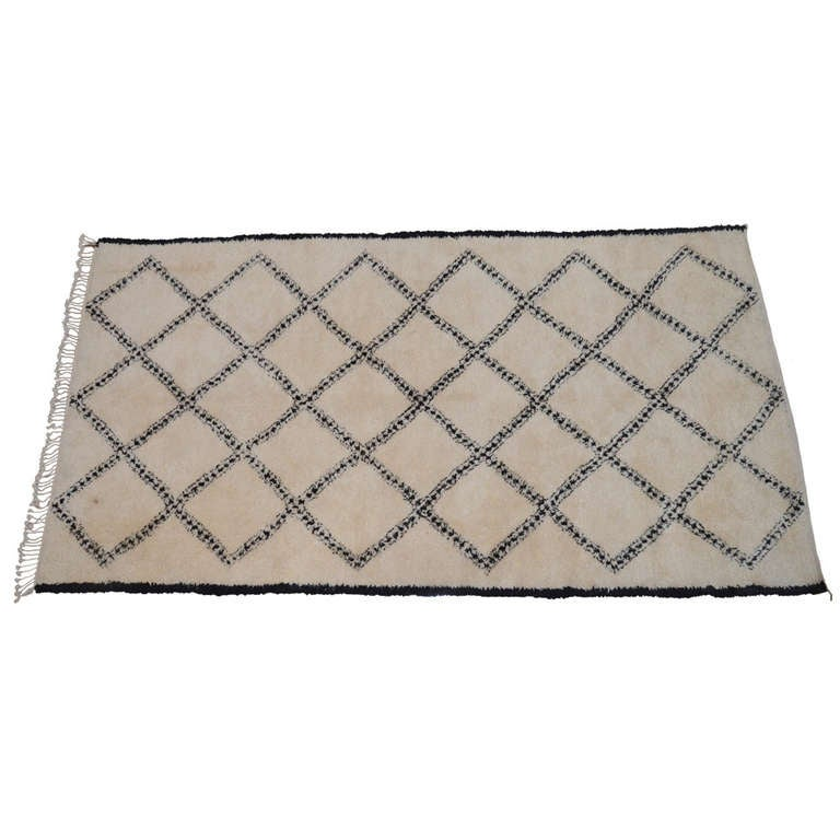 Moroccan Wool Rug In Cross Hatch Design At 1stdibs