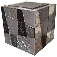 Paul Evans Argente Cube Table with Slate Top