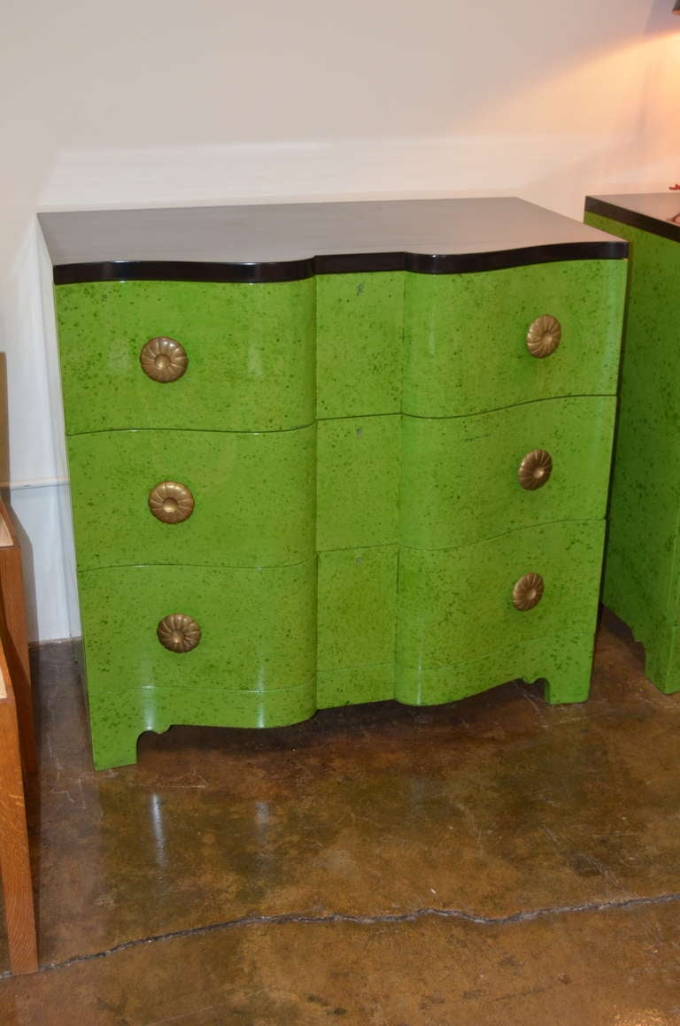 Frances Elkins Serpentine Chests in Mottled Green Finish 4