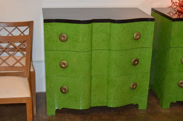 Frances Elkins Serpentine Chests in Mottled Green Finish 3