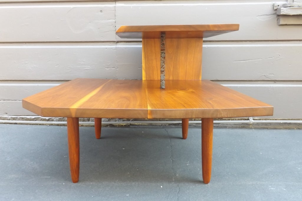 American George Nakashima Free Edge Two-Tier Table For Sale
