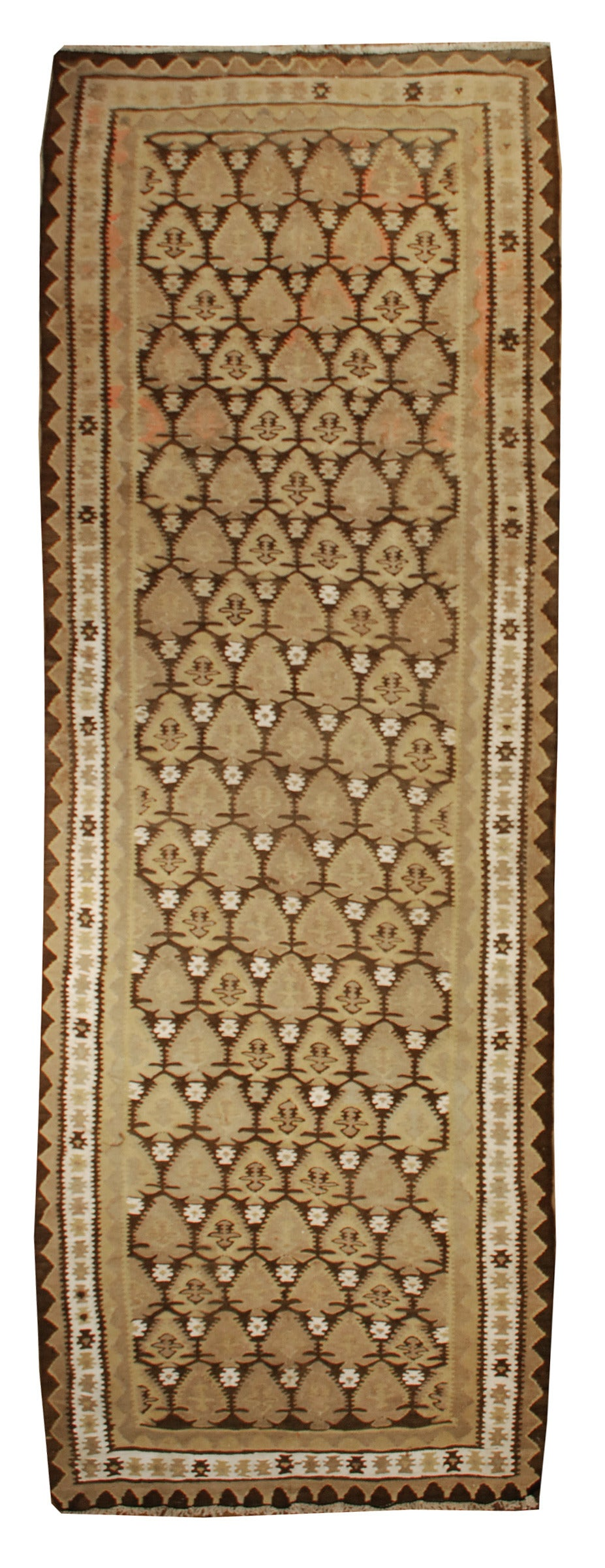 early 20th century qazvin kilim runner rug for sale at 1stdibs