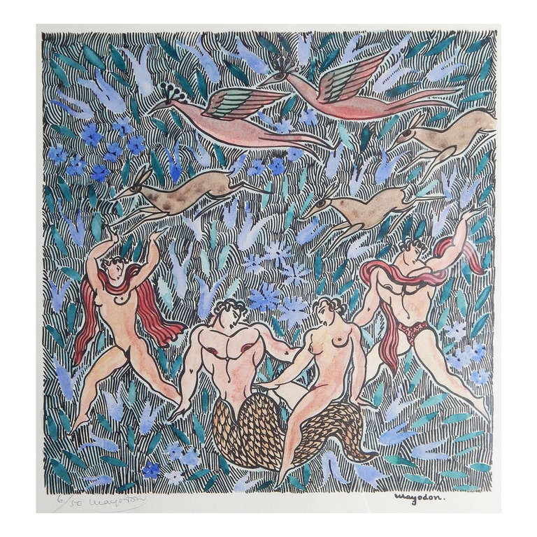 """""""Merman and Nudes in Paradise,"""" Very Rare Art Deco Print by Jean Mayodon For Sale"""