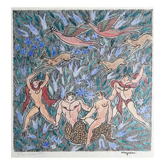 """Merman and Nudes in Paradise,"" Very Rare Art Deco Print by Jean Mayodon"
