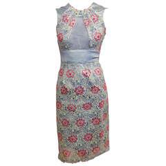 Erdem Blue and Pink Vinyl Floral Dress