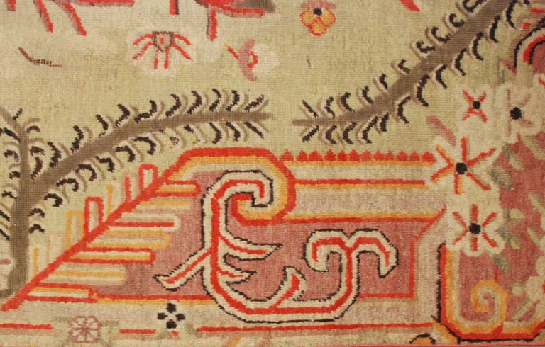 Antique Samarkand Rug In Excellent Condition For Sale In Chicago, IL