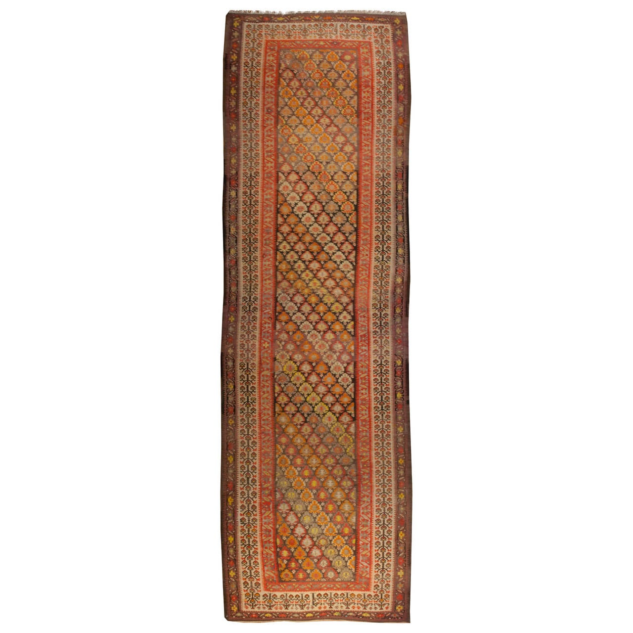 Early 20th Century Qazvin Kilim Runner For Sale At 1stdibs
