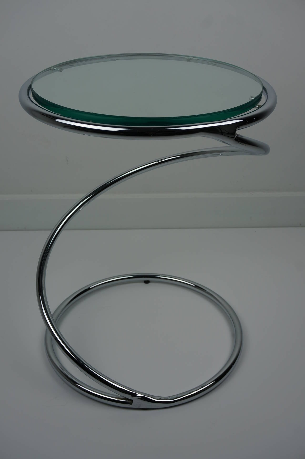 American Chrome and Glass Spiral Side Table For Sale