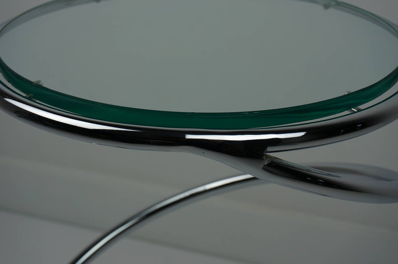 Polished Chrome and Glass Spiral Side Table For Sale