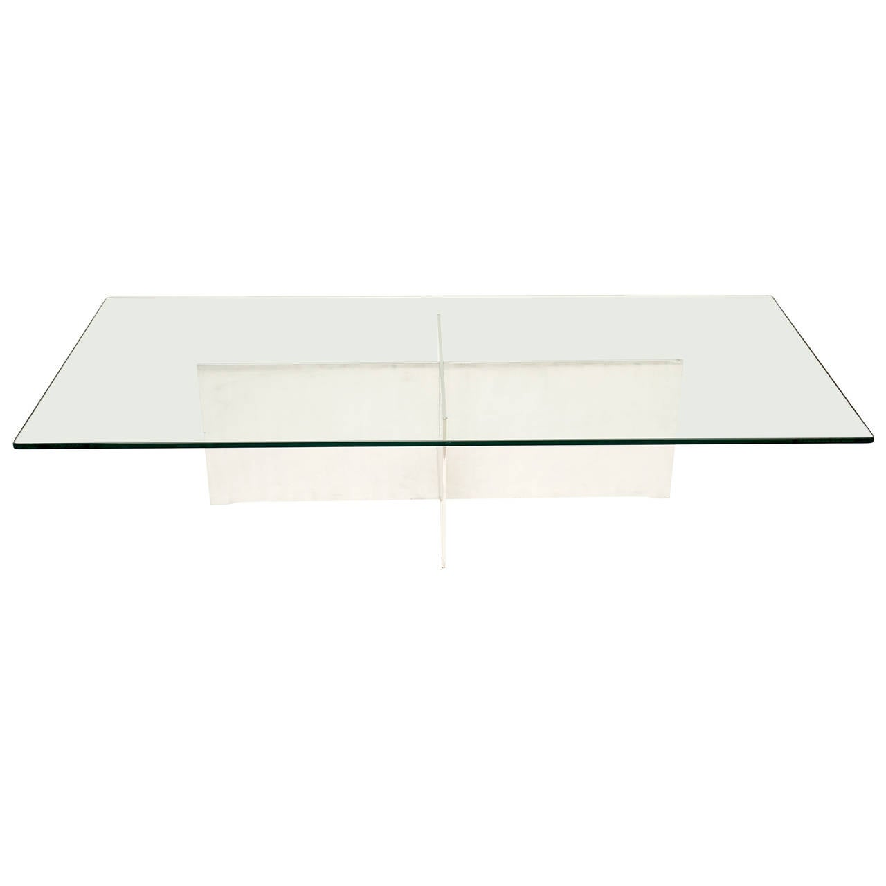 Aluminum and Glass Rectangular Cocktail Table, Paul Mayen, Habitat, 1970s