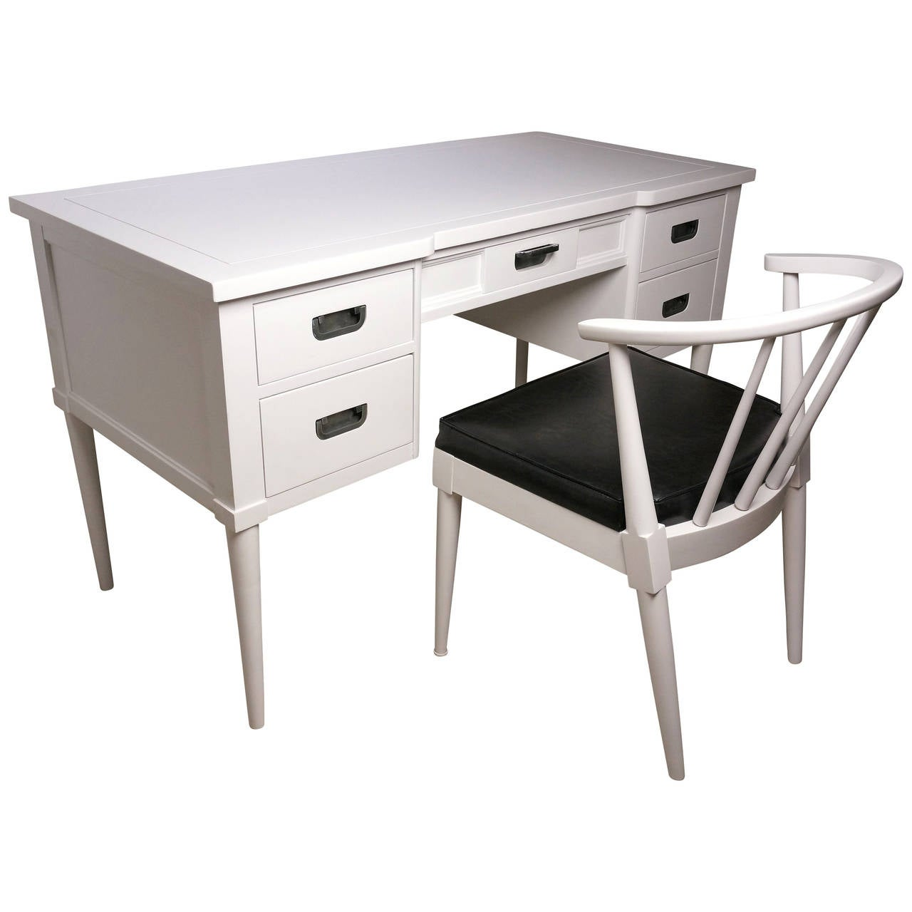 Midcentury white lacquered desk and chair style of paul for 1950s chair styles