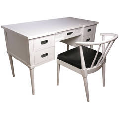Midcentury White Lacquered Desk and Chair, Style of Paul McCobb, 1950s