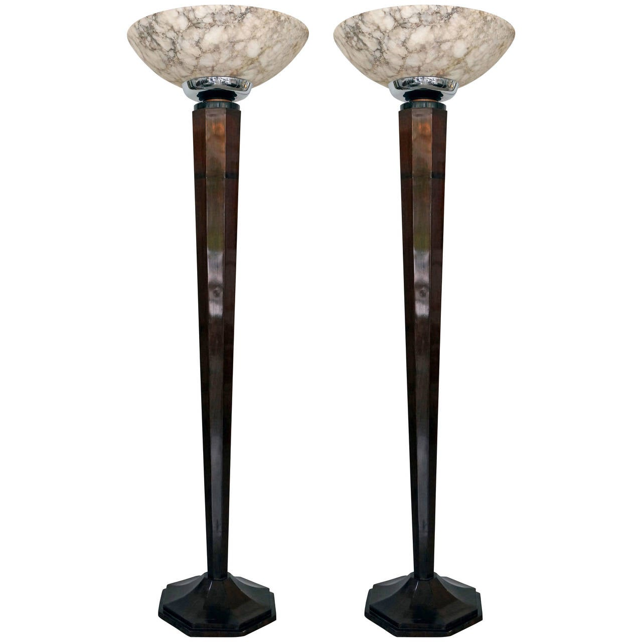 Pair of monumental art deco style torchieres in rosewood for Alabaster torchiere floor lamp