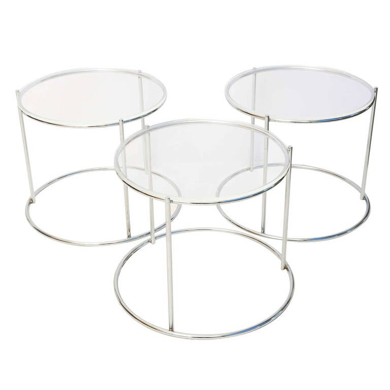 Set of Three Drum Shaped Nesting Tables 1